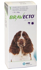 Bravecto for Dogs 22-44 lbs (10-20 kg) - Green - 2 Tablets (6 months)