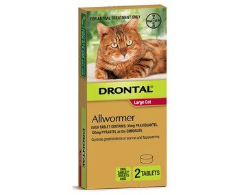 Drontal for Cats 13lbs (6kg) - 2 Tablets