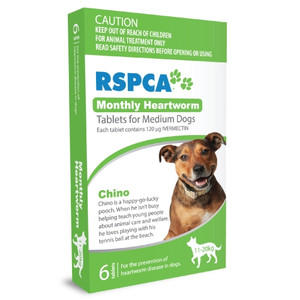 RSPCA Heartworm Tablets for Dogs 23-44 lbs (10-20kg) - 6 Pack - Green