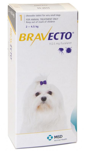 Bravecto for Dogs 4-10lbs (2-4.5 kg) - Yellow - 4 Tablets (12 months)
