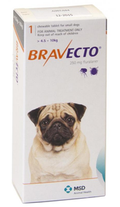 Bravecto for Dogs 10-22lbs (4.5-10 kg) - Orange - 4 Tablets (12 months)
