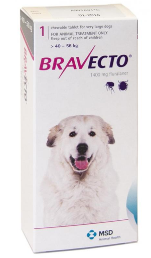 Bravecto for Dogs 88-123lbs (40-56 kg) - Purple - 4 Tablets (12 months)