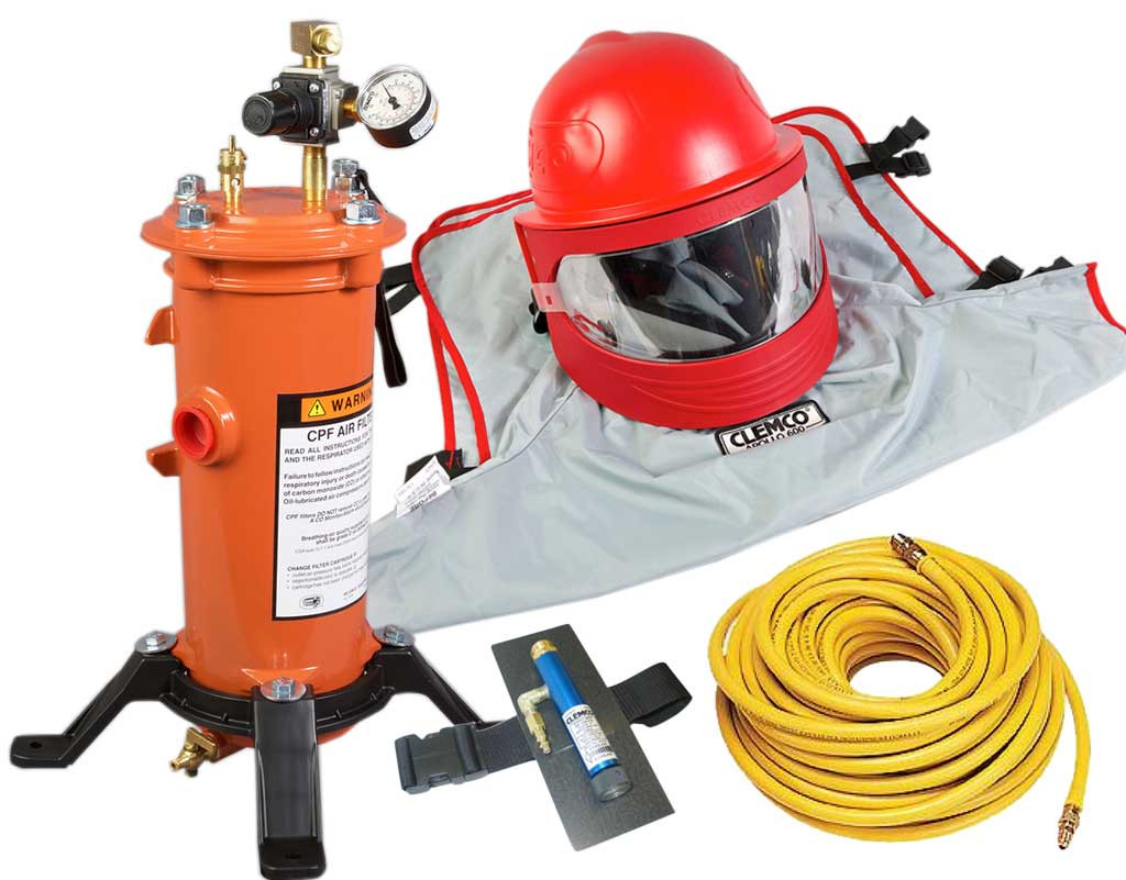 Clemco Apollo 600 HP Supplied Air Respirator with CAT, 50 ft  Hose and  CPF-20 Filter