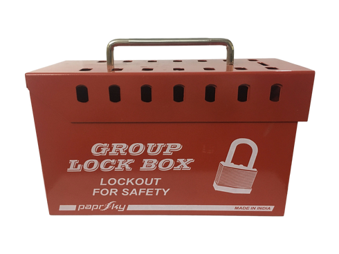Group Lock Box - 14 LOCKS (RED) and 1 Hook lock - PS-LOTO-GLB15