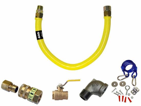 """Heavy Duty Gas Hose Quick Disconnect Kit 1/2"""" x 48"""""""