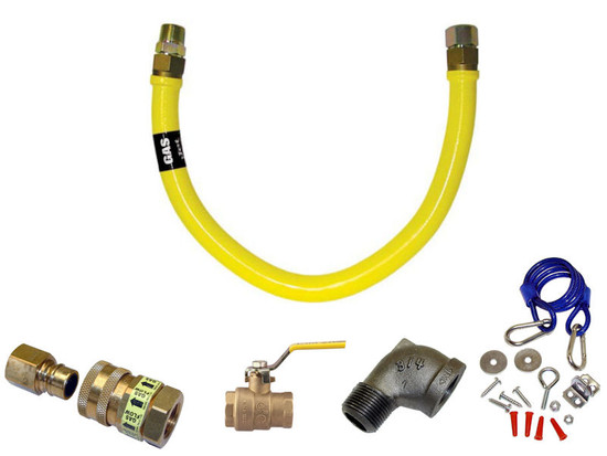 """Heavy Duty Gas Hose Quick Disconnect Kit 3/4"""" x 48"""""""
