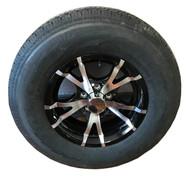 225 75 15 Hercules 12 Ply All Steel Trailer Tire Mounted on Sendel T07 Aluminum Trailer Wheel 5x4.5 5 Bolt with Center Cap ST225/75R15