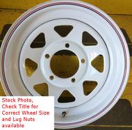 15 Inch New Trailer Wheel 15x6 6on5.5 6x5.5 6 Bolt 6 Lug White Spoke Rim SIL
