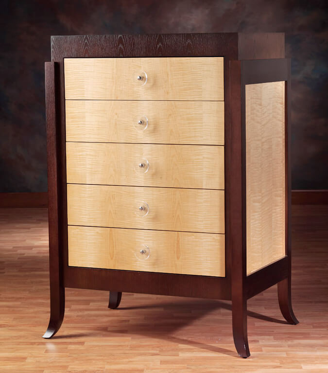Curly Maple And Flat Cut Ash Veneer Chest
