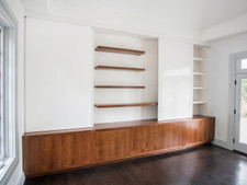 Floating Shelves and Built In Walnut Unit