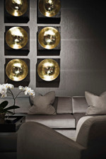 Modern Mappa Burl Veneer and Gold Console and Wall Decor