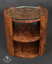 Walnut Burl and Glass Table