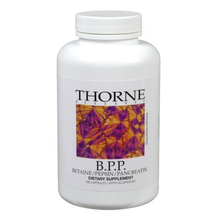 Ingredients -   Two Capsules Contain: Betaine Hydrochloride* 1.04 g. Pancreatin (Porcine)** 200 mg. Pepsin (Porcine) 40 mg.  Other Ingredients: Hypromellose (derived from cellulose) capsule, Leucine, Silicon Dioxide.  *Equivalent to 16 grains. **The Pancreatin in one capsule contains no less than: Amylase 22,500 USP Units Protease 20,000 USP Units Lipase 3,500 USP Units  Note: Betaine Hydrochloride derived from a non-plant source. This product is not diluted with lactose. Individuals with porcine allergies should not take this product. Do not take this product out of the capsule. This product is contraindicated in patients with peptic ulcers.