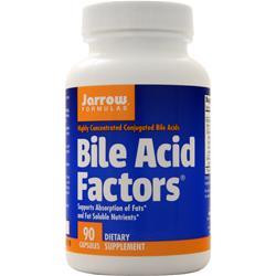 What does Bile Acid Factors do? Bile Acid Factors consists of a mixture of highly concentrated bile acids (also called bile salts), mostly in the conjugated form, from U.S. and/or New Zealand bovine/ovine bile.  Bile acids are produced in the liver and then stored and concentrated in the gallbladder, from which they enter the small intestines via the bile duct. The major bile components in Bile Acid Factors are glycocholate and taurocholate, which are crucial for fat digestion and absorption.* In the small intestine, bile acids emulsify fats to aid their absorption.* Bile acid deficiency causes fat malabsorption and fatty stools (steatorrhea), indicated by diarrhea and floating stools.* In addition, bile acid deficiency jeopardizes a persons nutritional status by reducing the absorption of fat and fat-soluble nutrients.* Conjugated bile acids have been shown in clinical trials to be effective in improving fat absorption and nutritional status.* Keep out of the reach of children.   *These statements have not been evaluated by the Food and Drug Administration. This product is not intended to diagnose, treat, cure, or prevent any disease. Suggested Usage    Take 1 to 3 capsules with a meal containing fat, or as directed by your qualified health care consultant.  NOTE: If you have a medical condition, are pregnant, lactating, or trying to conceive, are under the age of 18, or are taking medications, consult your health care practitioner before using this product.  Other Ingredients Magnesium stearate (vegetable source), natural vanilla flavor and silicon dioxide. Capsule consists of gelatin.  No wheat, no gluten, no soybeans, no dairy, no egg, no fish/shellfish, no peanuts/tree nuts.  Product Data Serving: 333 mg/capsule Size: 90 Capsules