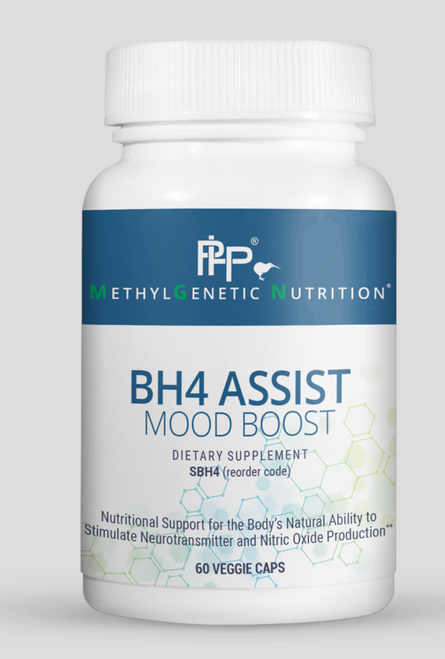 BH4-Assist (MOOD BOOST) helps to maintain proper levels of tetrahydrobiopterin (BH4). BH4 plays a critical role in both neurotransmitter and nitric oxide production. This important biological molecule can be depleted by high levels of ammonia (from biotoxins and/or CBS mutations), oxidative stress, heavy metal toxicity and/or lack of SAMe or NADH and genetic polymorphisms in MTHFR A1298C &/or DHFR. This formulation contains two forms of folate (folinic acid & methylfolate) and SAMe to support proper methylation and cell production, lithium, and Royal Jelly, which has naturally occurring BH4. This product can be used to support those with mood issues, methylation impairments and symptoms of low nitric oxide production.