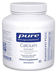 Calcium (Citrate) by Pure Encapsulations provides highly absorbable calcium to assist in supporting bone, cardiovascular and colon health, oxalate issues, and genetic pathways.