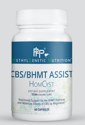 CBS/BHMT Assist is a combination product that supports healthy digestion, as well as the methionine pathway. The BHMT variant inhibits the conversion of homocysteine into methionine through what is called the middle pathway. The CBS variant upregulates the pathway, potentially causing homocysteine to rush down the trans-sulfuration pathway up to 10 times faster than normal. Even without the BHMT variant, supporting the pathway to make it more efficient is useful when someone has the CBS variant.