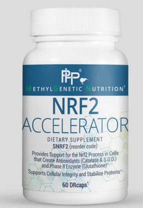 Nrf2 Accelerator is designed to help support our body's master antioxidant pathway, the Nrf2 Pathway. Activation of this pathway sets off a protective cascade of production of powerful antioxidants such as glutathione and catalase. Many genetic mutations and epigenetic factors can impair and burden this important pathway. Nfr2 Accelerator contains a unique blend of nutrients that help support and maintain this pathway. It can be used to support overall health because of its powerful effect on supporting our body's antioxidant systems.