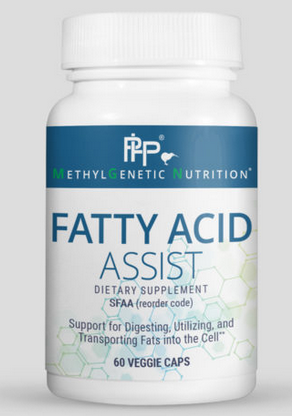 Fatty Acid Assist is a formulation that helps the body utilize fats to make cellular energy. Fats require acetyl-L-carnitine to be transported through the cell membranes for eventual ATP production.