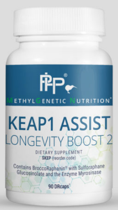 KEAP1 Assist (LONGEVITY BOOST 2) helps support our body's largest antioxidant system called the Nrf2 Pathway. This powerful protective pathway is activated via stimulation of KEAP1, which is a sensor for oxidants, free radicals, and electrophilic xenobiotics. Upon stimulation, KEAP1 gives up its inhibition of Nrf2 which then upregulates a variety of antioxidants. These antioxidants, such as glutathione, are extremely important in protection from inflammation and damaging free radicals such as super-oxide and peroxynitrite. This product contains nutrients such as rosemary, dong quai and sulforaphane.