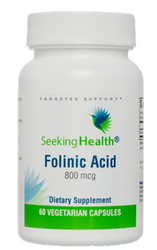Folinic Acid by Seeking Health provides 1,360 mcg DFE (800 mcg) of pure, bioavailable folate as folinic acid calcium salt per vegetarian capsule. This form of folate (vitamin B9) quickly converts to L-methylfolate, the predominant form of folate in circulation in the body. It may be easier for individuals who are sensitive to methylated nutrients to tolerate than supplemental L-methylfolate. Folate is essential for cell division, growth, and the formation of new red blood cells. Folinic acid can easily convert to the active forms of folate as needed in the body