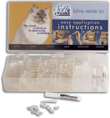 Starter Mini Kit includes 80 caps of each size (320 caps total) in CLEAR, four (4) tubes of adhesive and 32 applicator tips. Sizes include kitten, small, medium and large.