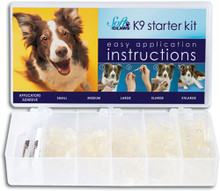 Starter Mini Kit includes 40 of each size in Small to XX-Large (200 caps total) in Black with four (4) tubes of adhesive and 12 applicator tips.