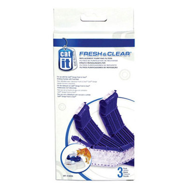 The Catit® Replacement Purifying Filter is for use with the Catit® Drinking Fountain.  The replaceable filter works to collect debris found in your pets water.  It also absorbs impurities found in tap water ensuring your cat a clean drink everyday.The replacement pack includes 3 replacement purifying filters.