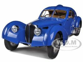 1938 Bugatti 57SC Atlantic Blue With Metal Wire-Spoke Wheels 1/18 Diecast Model Car Autoart 70943