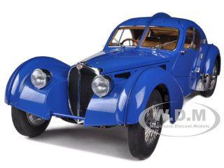 1938 Bugatti 57SC Atlantic Blue With Metal Wire-Spoke Wheels 1/18 Diecast Model Car Autoart 70943