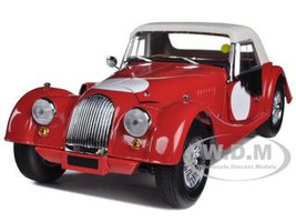 Morgan 4/4 Red with White Top & Side Curtains 1/18 Diecast Car Model Kyosho 08114