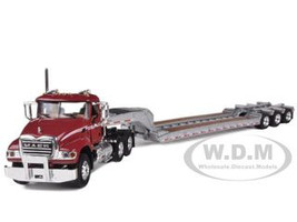 Mack Granite with Tri Axle Lowboy Trailer Red/Silver 1/64 Diecast Model First Gear 60-0205