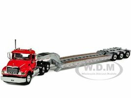 Mack Granite With Tri Axle Lowboy Trailer Red Case IH Agriculture 1/64 Diecast Model First Gear 60-0197