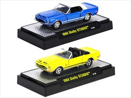 Detroit Muscle 1968 Ford Shelby Mustang GT500KR Blue & Yellow 2 Cars Set IN BLISTER PACK 1/64 by M2 Machines