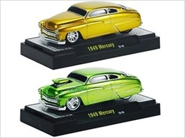 Ground Pounders 1949 Mercury Green & Gold 2 Cars Set IN CASES 1/64 Diecast Model Cars M2 Machines 82161-11B