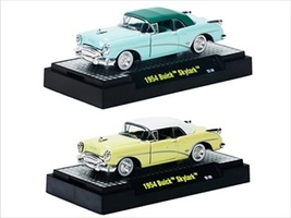 Auto Thentics 1954 Buick Skylark Yellow & Green 2 Cars Set Release 20C WITH CASES 1/64 by M2 Machines