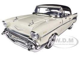 1957 Chevrolet Bel Air Hard Top Cream With Custom Wheels 1/18 Diecast Model Car Motormax 79006