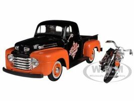 1948 Ford F-1 Pickup Truck Orange Black 1958 FLH Duo Glide Harley Davidson Motorcycle 1/24 Diecast Models Maisto 32180
