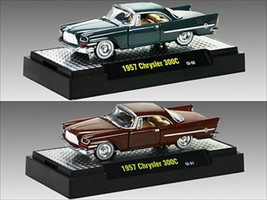 Auto Thentics 1957 Chrysler 300C 2pc Cars Set WITH CASES 1/64 Diecast Model Cars M2 Machines 32500-20D