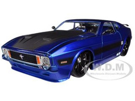 1973 Ford Mustang Mach 1 Blue 1/24 Diecast Car Model Jada 96764