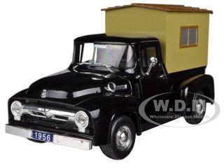 1956 Ford F-100 Pickup Truck Black with Camper 1/32 Diecast Model Car Signature Models 32395