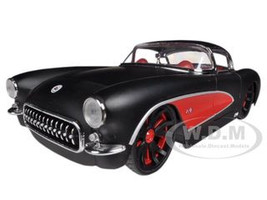 1957 Chevrolet Corvette Hard Top Primered Black With Red 1/24 Diecast Model Car Jada 90935
