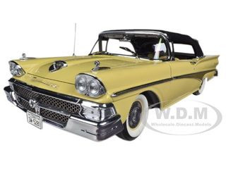 1958 Ford Fairlane 500 Closed Convertible Sun Gold / Black 1/18 Diecast Car Model Sunstar 5281