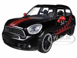 Mini Cooper S Countryman Black Racing 1/24 Diecast Car Model Motormax 73773