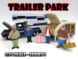 """Trailer Park"" Figure Set of 4 Pieces For 1:24 Scale Diecast Model Cars American Diorama"