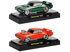 Ground Pounders 1969 Pontiac GTO 2pc Car Set WITH CASES 1/64 Diecast Model Cars M2 Machines 82161-11F
