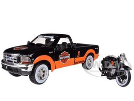 1999 Ford F-350 Pickup Truck With Harley Davidson 1936 El Knucklehead Motorcycle 1/24 Orange/Black & White Wheels Maisto 32172