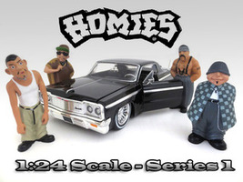 Homies Figurine Set 4 pieces for 1/24 Scale Models American Diorama 23949 23950 23951 23952