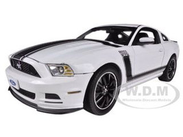 2013 Ford Mustang Boss 302 White Black Stripes 1/18 Diecast Model Car Shelby Collectibles SC452
