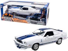 1976 Ford Mustang II Cobra II Jill Munroe's White Blue Racing Stripes Charlie's Angels 1976 1981 TV Series 1/18 Diecast Model Car Greenlight 12880